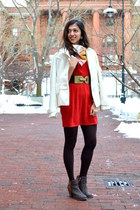 red sweater asos dress - dark brown glitter Amazon boots - ivory Marshalls coat