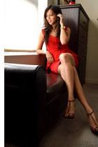 red peplum Lulus dress - brown leopard print rainbow heels