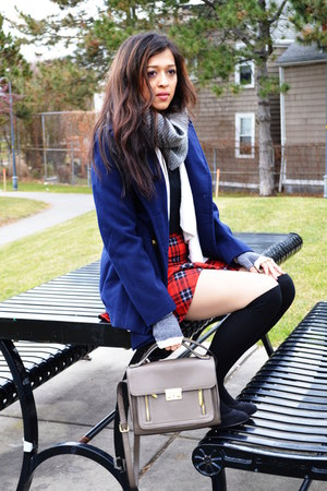 red plaid Marshalls skirt - navy Forever 21 coat - heather gray H&M scarf