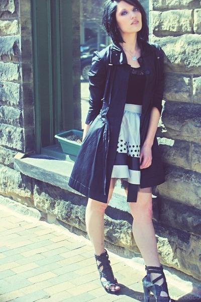 black elle coat - black Forever21 top - silver Forever21 Twist skirt - black Zig