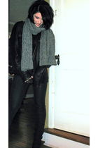 black H&M jacket - gray random scarf - blue Express jeans - black nicole lee acc