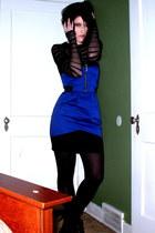 blue H&M dress - black Express top - black HUE tights - black zigi-soho boots