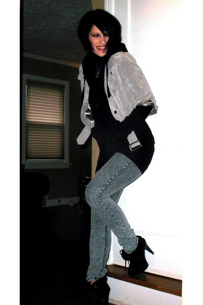 silver proenza schouler for target jacket - black H&M top - black Target jacket