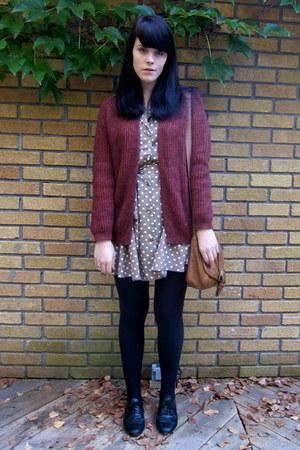 camel polka dot asos dress - maroon wool H&M cardigan