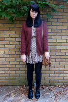 camel polka dot asos dress - maroon wool H&M cardigan