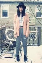 black wide-brim H&M hat - pink boyfriend H&M blazer