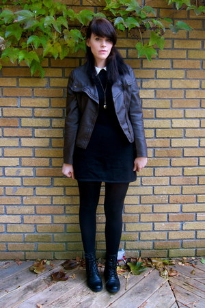 leather Forever21 jacket - asos dress