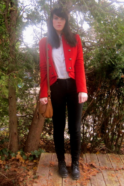 ruby red military unknown jacket - black Jacob jeans - white button up H&M shirt