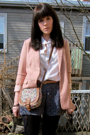 pink pastel H&M blazer - white collar H&M shirt - white floral print Primark bag