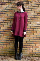 black Topshop boots - maroon collared Dansk dress