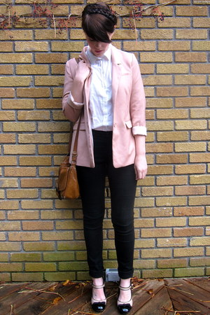 eggshell two-tone asos heels - black Jacob jeans - light pink H&M blazer