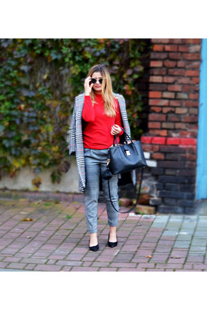 zaful coat - Bershka pants - Sinsay blouse