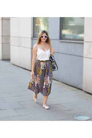 BangGood bag - Orsay sunglasses - Sinsay flats - zaful skirt - Mango blouse