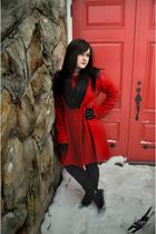 red Old Navy coat - black jeans - black Ross boots - black gloves - black scarf