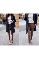 cargo skinny pants pants - white white knit sweater - dark gray long wool jacket