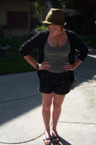 H&M gray label sweater - H&M top - Lux shorts - vintage hat