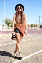 Urban Outfitters top - Forever 21 hat - leather Urban Outfitters shorts