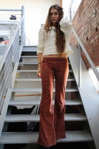 flared Forever 21 pants - cropped Forever 21 sweater - house of harlow necklace