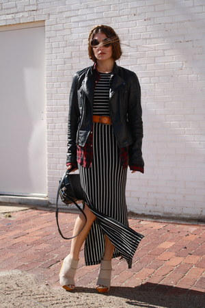 leather jacket Zara jacket - stripes DV by dolce vita dress
