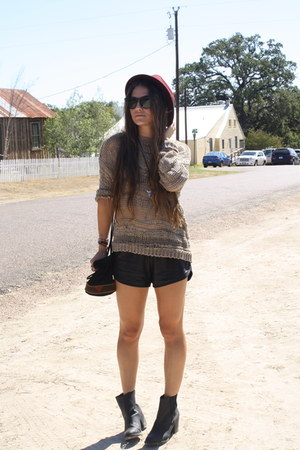 tattered Urban Outfitters jumper - leather H&amp;M boots - fedora Forever 21 hat