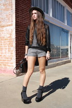 waxed H&M sweater - LF hat - structured Alexander Wang bag - tweed H&M shorts