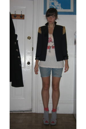blue vintage blazer - gray Jeffrey Campbell shoes - 7 for all mankind shorts