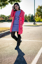 black JCPenney boots - blue stripes Piko Brand dress