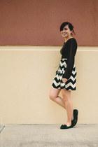 black chevron Kiki LaRue dress - gold LC Lauren Conrad necklace