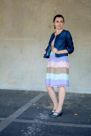sky blue Ruche dress - navy Old Navy jacket - charcoal gray Shoe Carnival heels