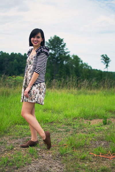 navy H&M cardigan - bronze Steve Madden shoes - ivory apricot dress