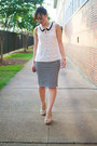 Cream-skies-are-blue-shirt-black-stripes-old-navy-skirt-beige-mia-wedges