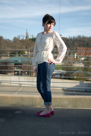 cream Under Skies shirt - navy Old Navy jeans - hot pink merona loafers