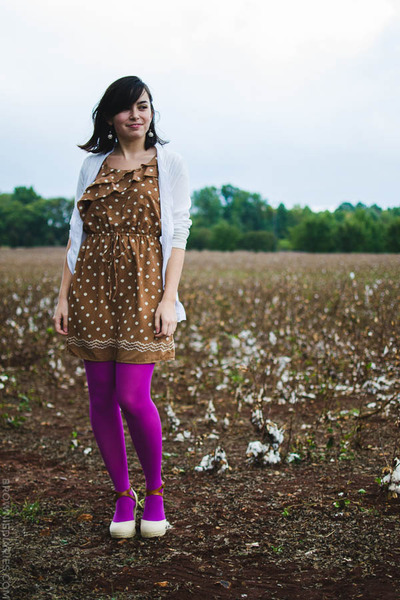 light brown 11 Eureka dress - amethyst merona tights - nude BC footwear wedges