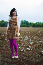 light brown 11 Eureka dress - amethyst merona tights - nude BC footwear wedges