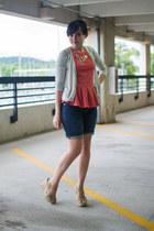 salmon peplum stripes Mossimo shirt - navy Gap shorts - aquamarine H&M cardigan