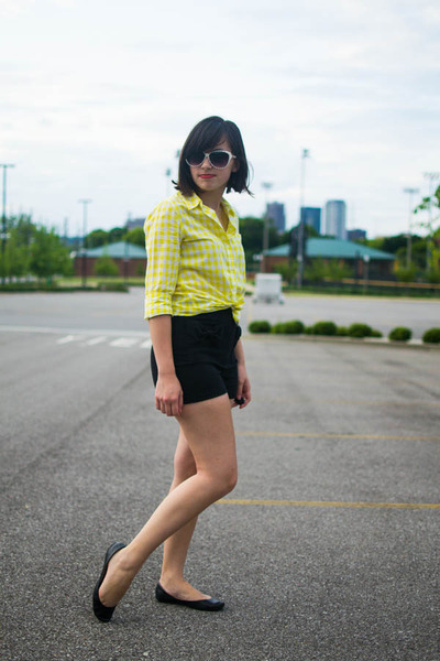 light yellow Gap shirt - black Forever 21 shorts - ivory Xhileration sunglasses
