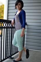 black H&M shirt - aquamarine rewind shorts - blue Mossimo cardigan