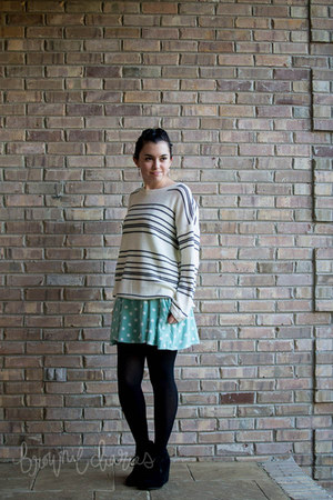 white stripes Forever 21 sweater - black DV by dolce vita boots