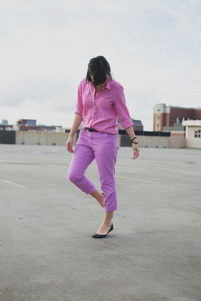 44f3f29d0efa24 hot pink gingham Joe Fresh shirt - light purple khaki Old Navy pants