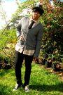 Brown-oneil-shirt-gray-forever21-cardigan-black-club-room-tie-gray-ae-hat-