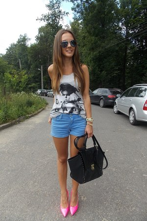 sky blue Zara shorts