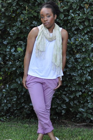 unknown brand scarf - Express shirt - Ann Taylor Loft pants