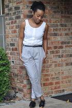 white thrifted shirt - black Forever 21 belt - silver H&M pants - black Steve Ma