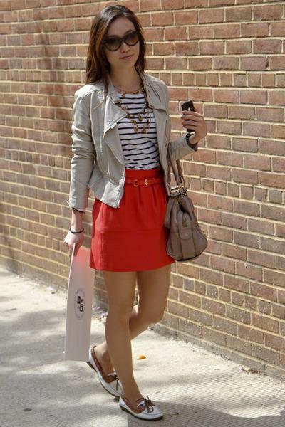 Sperry Top-Sider shoes - Express jacket - H&M shirt - H&M belt - Zara skirt - Fo