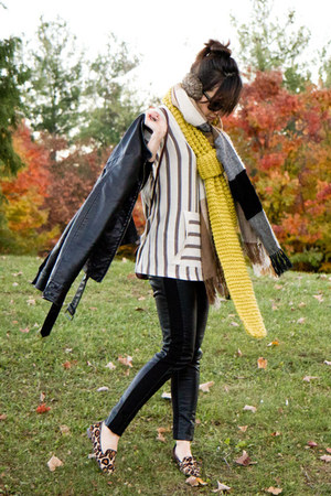 H & M scarf - Forever 21 scarf - Express jacket - sam edelman loafers
