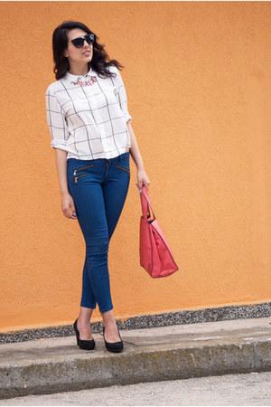 coral Parfois bag - white H&M shirt - navy Zara pants
