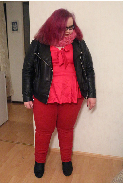 red skinny asos jeans - ooh leather H&M jacket - pink Veniz scarf