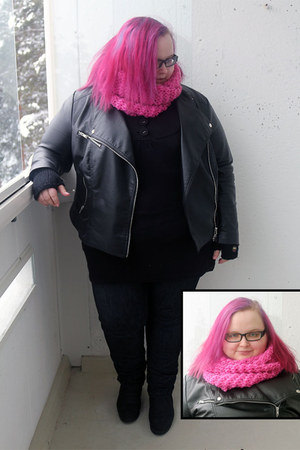 pink Veniz scarf - skinny asos jeans - leather H&M jacket - tunic-ish Opal shirt