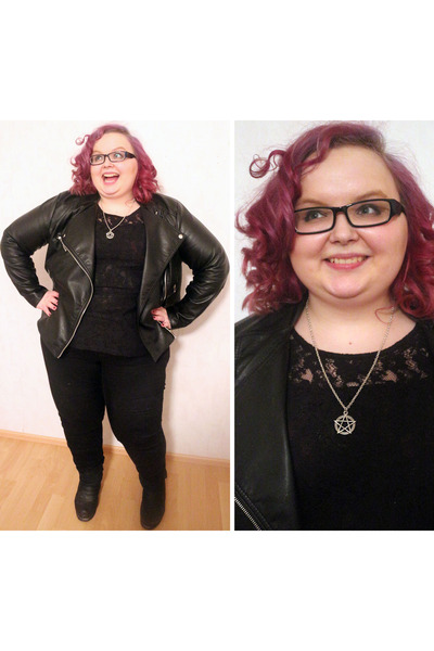 black black Lindex Generous jeans - black leather H&M jacket