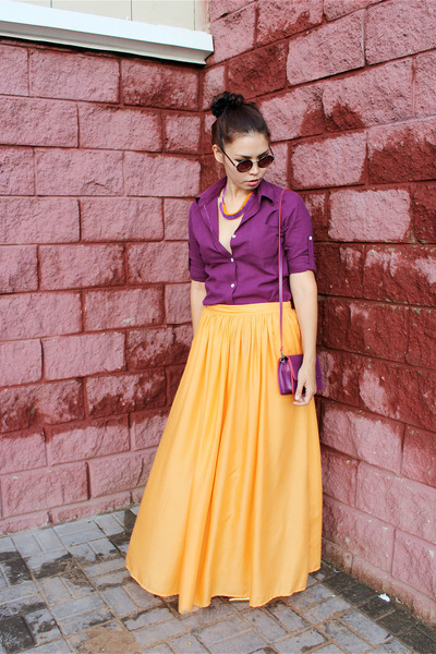 orange Zara skirt - magenta no name shirt - carrot orange handmade necklace